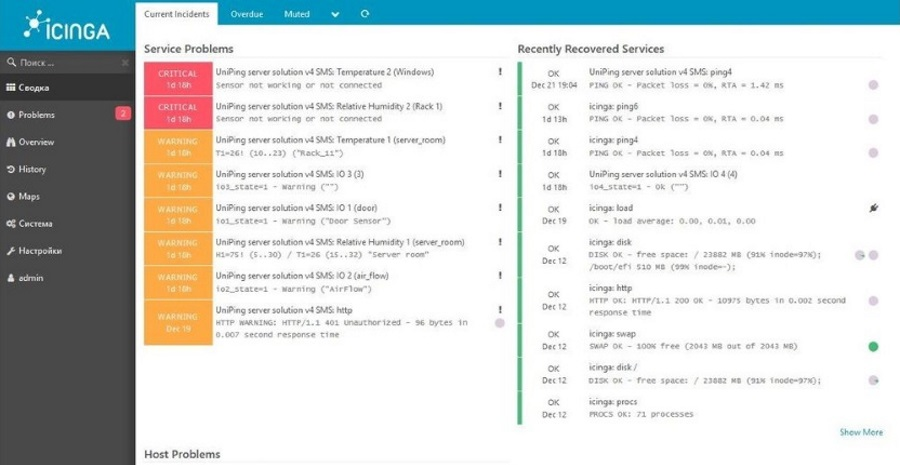 Example of server room monitoring on the basis of Icinga and NetPing